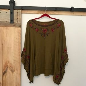 Johnny Was Olive Green Embroidered Poncho XS